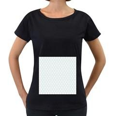 Web Grey Flower Pattern Women s Loose-Fit T-Shirt (Black)