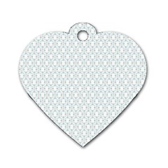 Web Grey Flower Pattern Dog Tag Heart (Two Sides)