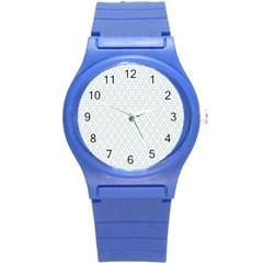 Web Grey Flower Pattern Round Plastic Sport Watch (S)