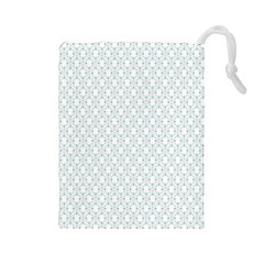 Web Grey Flower Pattern Drawstring Pouches (Large)