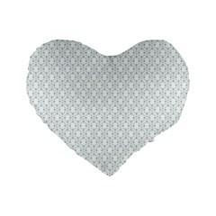 Web Grey Flower Pattern Standard 16  Premium Flano Heart Shape Cushions