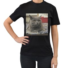 British Shorthair Grey Women s T-Shirt (Black) (Two Sided)