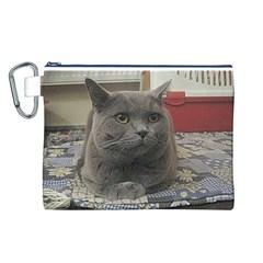 British Shorthair Grey Canvas Cosmetic Bag (L)