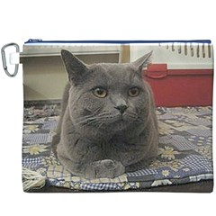 British Shorthair Grey Canvas Cosmetic Bag (XXXL)