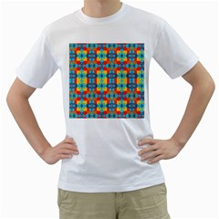 Pop Art Abstract Design Pattern Men s T-Shirt (White) (Two Sided)
