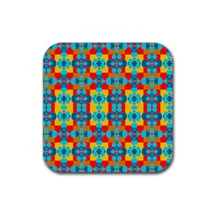 Pop Art Abstract Design Pattern Rubber Square Coaster (4 Pack)