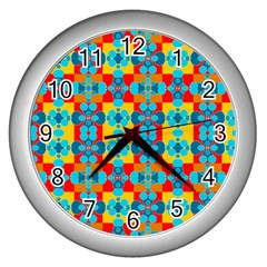 Pop Art Abstract Design Pattern Wall Clocks (Silver)