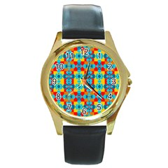 Pop Art Abstract Design Pattern Round Gold Metal Watch