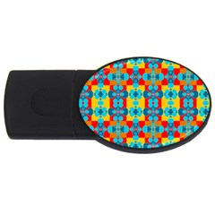 Pop Art Abstract Design Pattern Usb Flash Drive Oval (2 Gb)