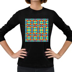 Pop Art Abstract Design Pattern Women s Long Sleeve Dark T-Shirts