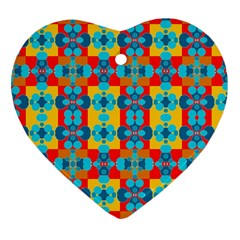 Pop Art Abstract Design Pattern Heart Ornament (Two Sides)