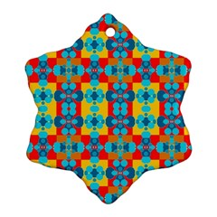Pop Art Abstract Design Pattern Snowflake Ornament (Two Sides)