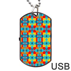 Pop Art Abstract Design Pattern Dog Tag USB Flash (Two Sides)