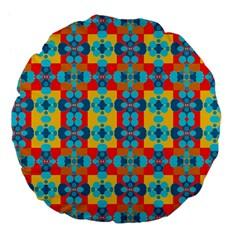 Pop Art Abstract Design Pattern Large 18  Premium Flano Round Cushions