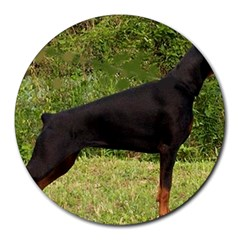 Doberman Pinscher Black Full Round Mousepads