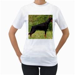 Doberman Pinscher Black Full Women s T-Shirt (White) (Two Sided)