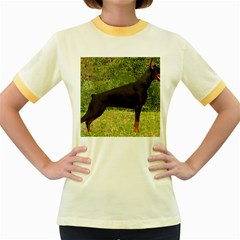Doberman Pinscher Black Full Women s Fitted Ringer T-Shirts
