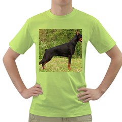 Doberman Pinscher Black Full Green T-Shirt