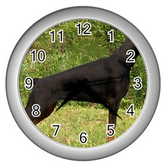 Doberman Pinscher Black Full Wall Clocks (Silver)