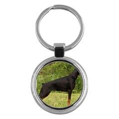 Doberman Pinscher Black Full Key Chains (Round)