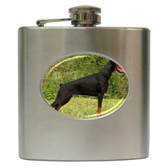 Doberman Pinscher Black Full Hip Flask (6 oz)