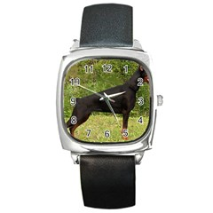 Doberman Pinscher Black Full Square Metal Watch