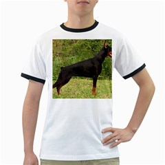 Doberman Pinscher Black Full Ringer T-Shirts