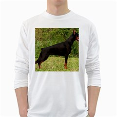 Doberman Pinscher Black Full White Long Sleeve T-Shirts