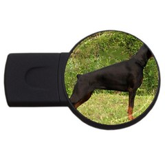 Doberman Pinscher Black Full USB Flash Drive Round (4 GB)