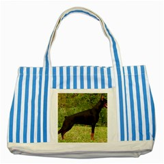 Doberman Pinscher Black Full Striped Blue Tote Bag
