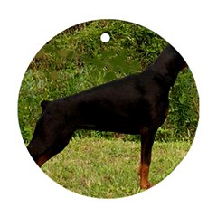 Doberman Pinscher Black Full Round Ornament (Two Sides)