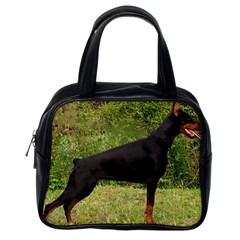 Doberman Pinscher Black Full Classic Handbags (One Side)