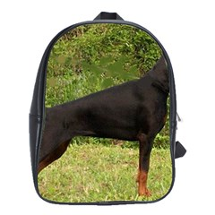 Doberman Pinscher Black Full School Bags(Large)