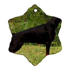 Doberman Pinscher Black Full Snowflake Ornament (Two Sides)