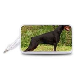 Doberman Pinscher Black Full Portable Speaker (White)