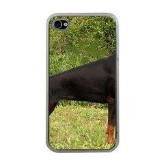 Doberman Pinscher Black Full Apple iPhone 4 Case (Clear)