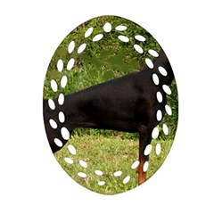 Doberman Pinscher Black Full Oval Filigree Ornament (Two Sides)