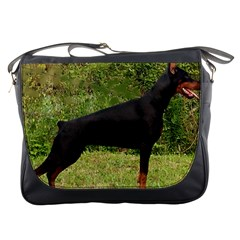 Doberman Pinscher Black Full Messenger Bags