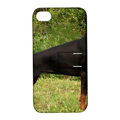 Doberman Pinscher Black Full Apple iPhone 4/4S Hardshell Case with Stand