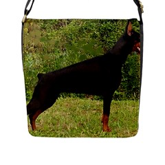 Doberman Pinscher Black Full Flap Messenger Bag (L)