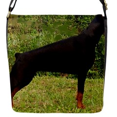 Doberman Pinscher Black Full Flap Messenger Bag (S)