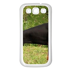 Doberman Pinscher Black Full Samsung Galaxy S3 Back Case (White)