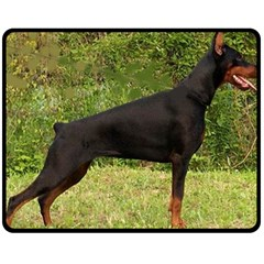 Doberman Pinscher Black Full Double Sided Fleece Blanket (Medium)