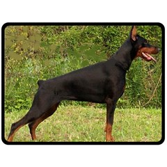 Doberman Pinscher Black Full Double Sided Fleece Blanket (Large)