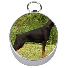 Doberman Pinscher Black Full Silver Compasses