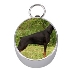 Doberman Pinscher Black Full Mini Silver Compasses