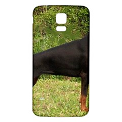 Doberman Pinscher Black Full Samsung Galaxy S5 Back Case (White)