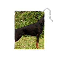 Doberman Pinscher Black Full Drawstring Pouches (Medium)