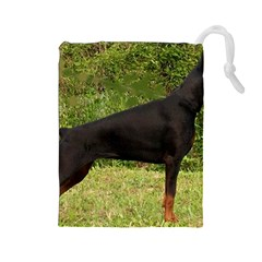 Doberman Pinscher Black Full Drawstring Pouches (Large)