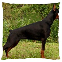 Doberman Pinscher Black Full Large Flano Cushion Case (Two Sides)
